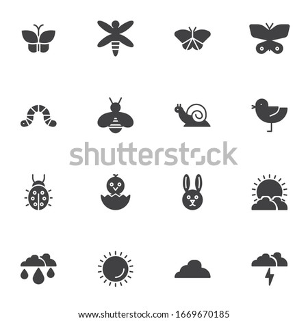 Spring, animal vector icons set, modern solid symbol collection, filled style pictogram pack. Signs, logo illustration. Set includes icons as insects, butterfly, bird, snail, ladybird, sunny weather stock photo