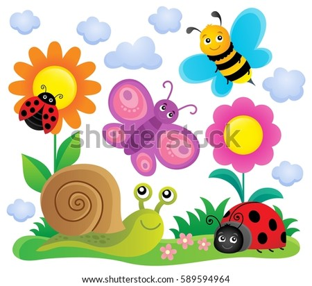 Spring animals and insect theme image 6 - eps10 vector illustration.