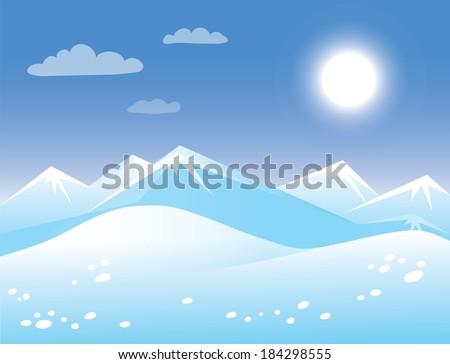 spring arctic sunny landscape