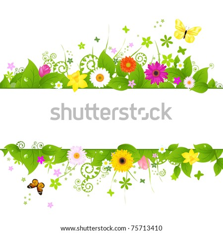Spring Background, Isolated On White Background, Vector Illustration