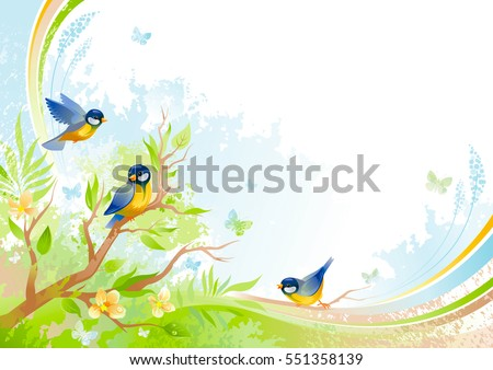 Spring background. Tree branch cherry blossom tit birds. Watercolor Flower, grass, leaf, grunge floral pattern. Isolated flat season vector illustration. Happy springtime nature Easter greeting card