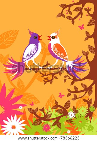 Spring background. Vector illustration of a tweet birds on the branch.