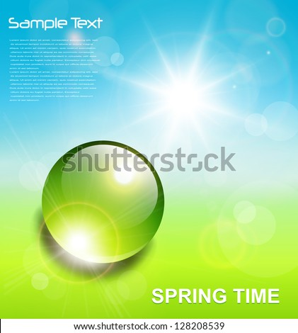 Spring background, water drop on green with vector sun.