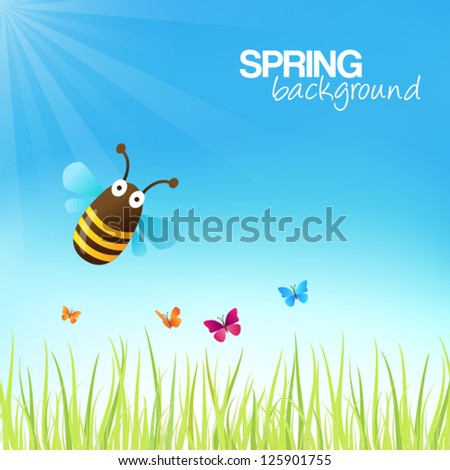Spring background with a cute bumblebee