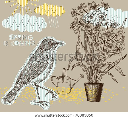 Spring background with bird and narcissus