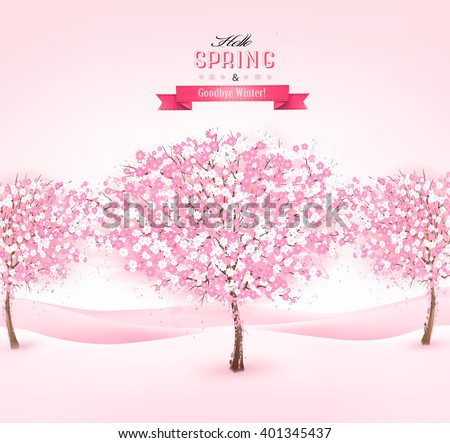 spring background with cherry