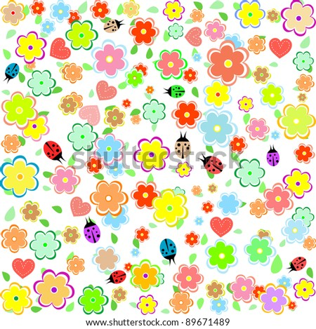 spring background with flowers and ladybugs. Vector