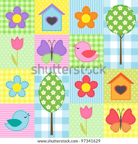 Spring background with flowers, trees, birdhouses and butterflies