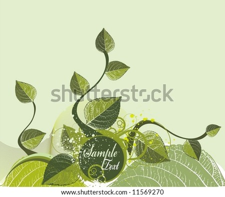 spring background with fresh leaves with medallion for text