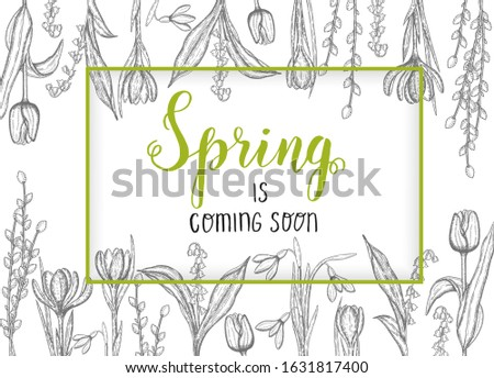 spring background with hand