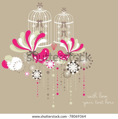 spring background with lovely bird (label,card,sticker,invitation card, wrapping paper or wall paper)