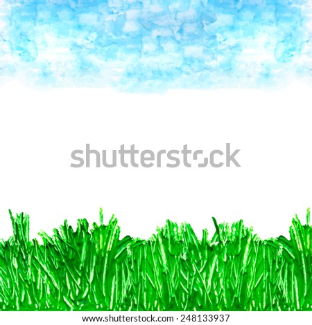 Spring background with white place for inscription. Acrylic hand drawn  sky and grass.Painted composition for scrapbook elements with empty space for text message. Vector illustration