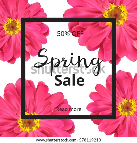 Spring banner with pink flowers on white background. Spring sale banner. Vector illustration. #578119210
