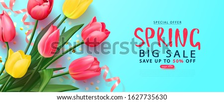 Spring big sale card with tulips and serpentine.Vector illustration. Template banners,Wallpaper,flyers, invitation, posters, brochure, voucher discount.