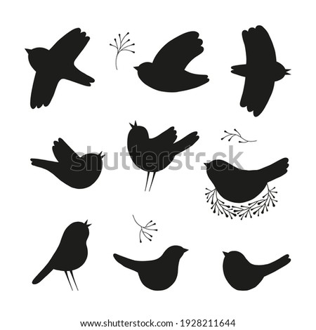 Spring bird black vector silhouette collection. Birds shapes clipart set isolated on white background. Nesting flying singing bird design elements.