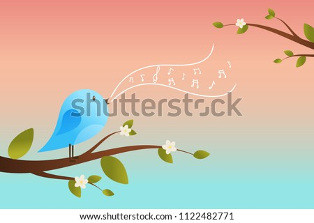 Stock Photo Spring bird on tree singing song from the musical notes. Blue bird cartoon character.Singing Bird on a branch.Bird on a tree.Vector illustration on sky background.