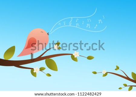 Stock Photo Spring bird on tree singing song from the musical notes. Pink bird cartoon character.Singing Bird on a branch.Bird on a tree.Vector illustration on sky background.