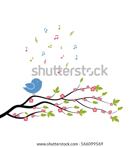 Spring bird on tree singing song from the musical notes. Vector illustration on white background.