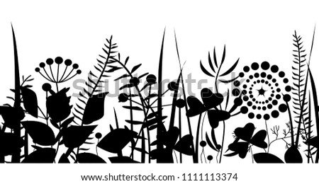 Spring black grass silhouette seamless pattern