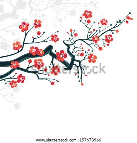 Spring blossoms background japanese symbol