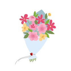 Spring bouquet of flowers. Valentines day, Wedding bouquet flowers, birthday bouquet flowers. Vector illustration in flat design