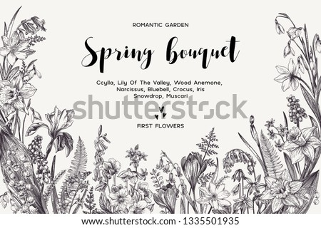 Spring bouquet. Vintage vector card with garden flowers. Botanical illustration. Floral background. Black and white.