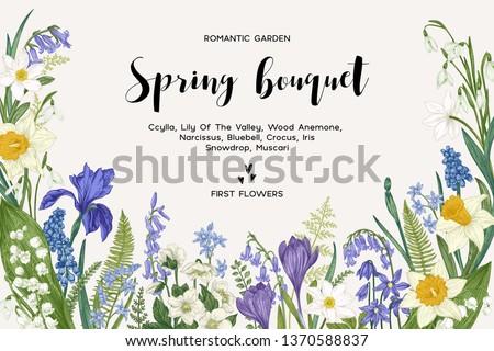 spring bouquet vintage vector