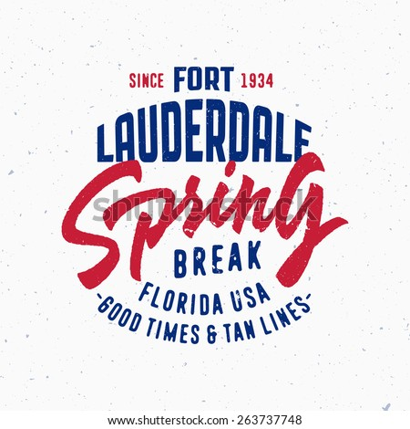 Spring Break Fort Lauderdale Vintage Stock Photo