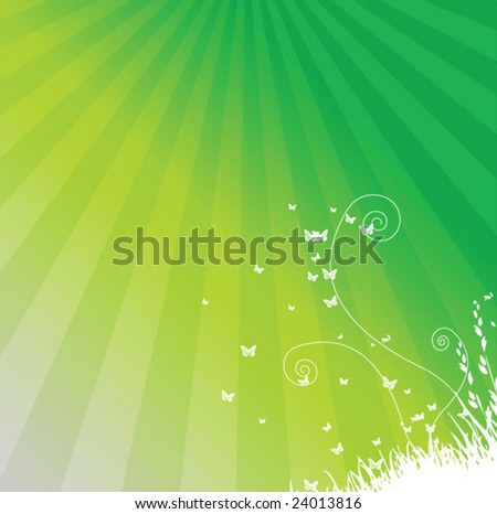 Spring butterfly and flower grass vector
