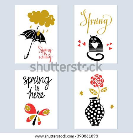 spring card design set isolated