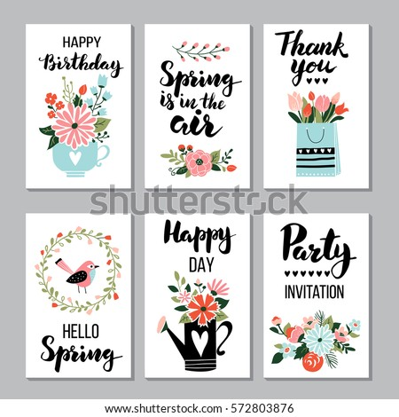 Spring card set with spring quotes, calligraphy, flowers, wreath. Perfect for greeting cards, sale badges, scrapbook, poster, cover, tag, invitation. Hand drawn style, vector illustration.
