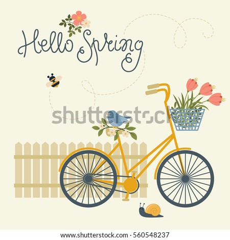 "Spring card with bicycle, flowers, bird, snail and fence. Text ""Hello Spring"""