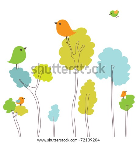 spring card with birds on the