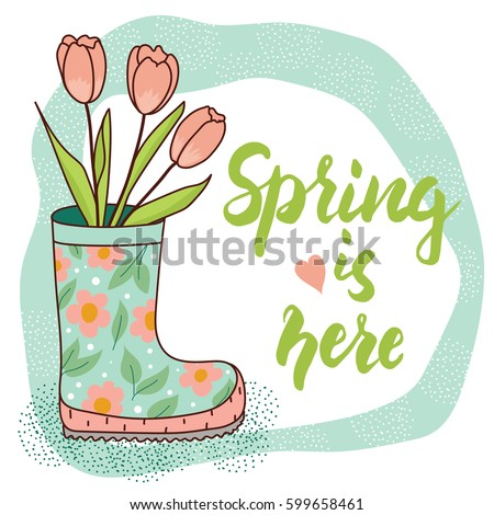 spring card with rain boot and