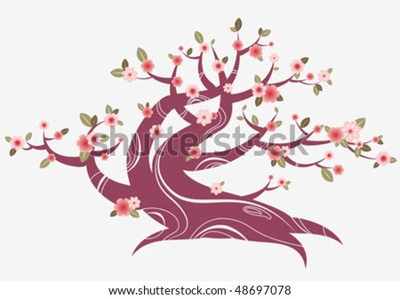cherry tree drawing in blossom. Spring cherry blossom tree