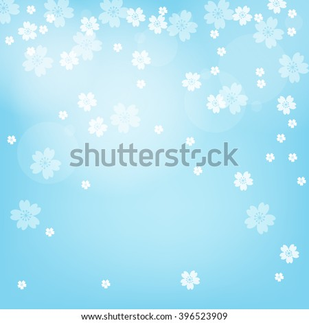Spring Cherry Blossoms on blue background
