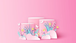 Spring circle stage podium scene decorated with flower, leaves, grass and butterfly flying Spring stage podium. Paper cut and craft style. vector, illustration.