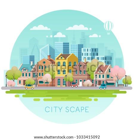 Spring cityscape.Vector illustration.