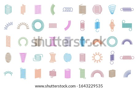 Spring coils. Metal spiral spring, car motor coil swirls silhouette, wire springs, metallic flexible coils and line steel curved spiral isolated vector icons. color steel helix, suspension symbols Stockfoto ©