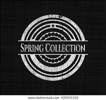Spring Collection chalkboard emblem written on a blackboard