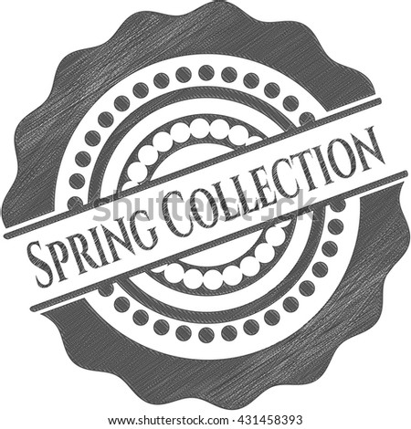 Spring Collection emblem with pencil effect