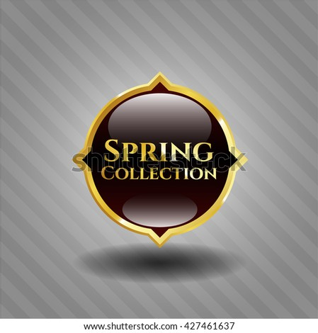 Spring Collection golden emblem or badge