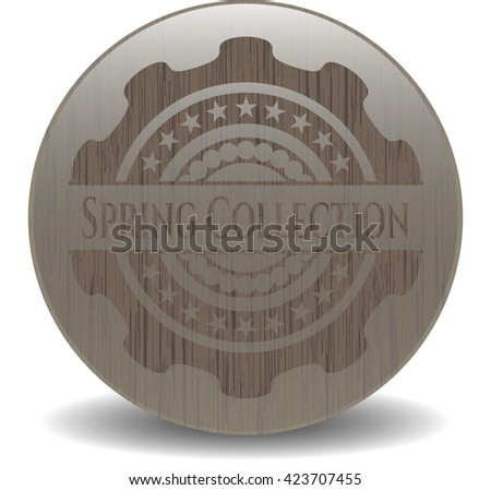Spring Collection retro style wooden emblem