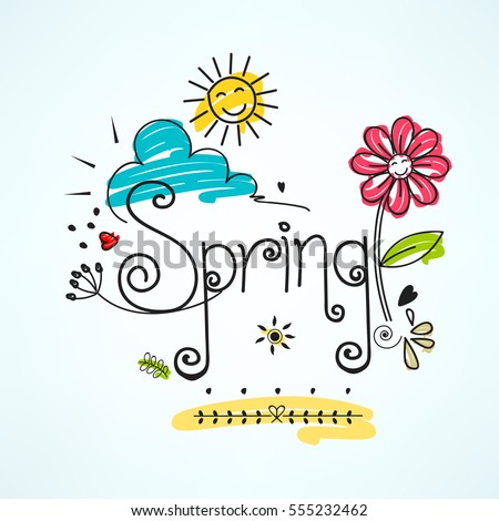 Spring, Colorful Vector Illustration based on Line Art and Doodle Pattern.