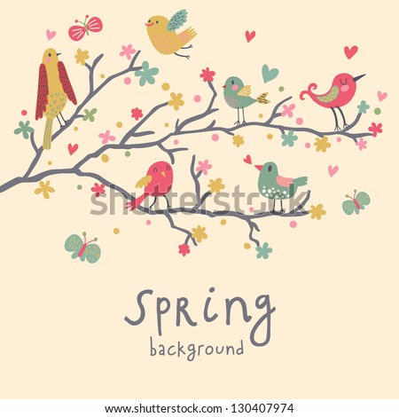 Spring concept illustration. Birds on branches in vector � Cute nature wallpaper