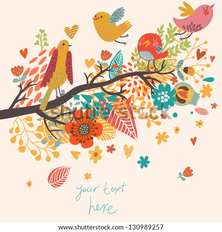 Spring concept illustration. Cartoon bird on branch in flowers. Floral spring background in vector. Can be used as wedding invitation