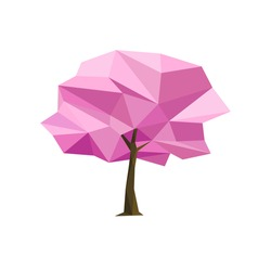 Spring concept pink tree formed by triangles, pink sakura. Polygon vector illustration