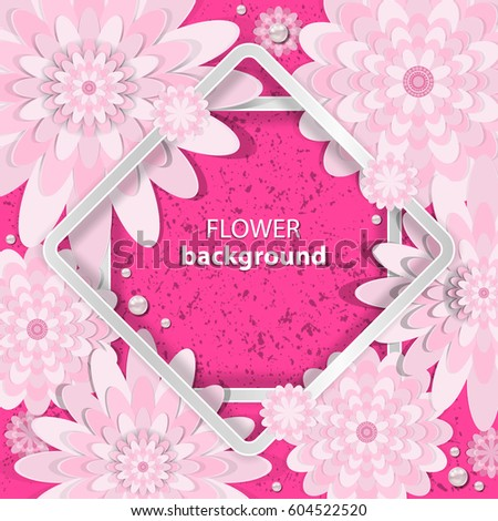 Spring congratulatory floral background. Festive paper flowers on a square light frame. Grunge pink background. Vector greeting card with a holiday on March 8, Mother's Day, birthday, marriage, etc. #604522520