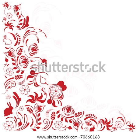 ... illustration with swirls, floral ornament in pink color - stock vector