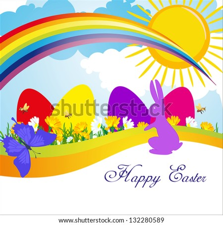 spring day meadow Easter Sunday in the meadow flowers grow among them Easter eggs and leaping hare